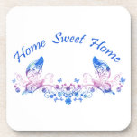 Home Sweet Home Butterfly Design Beverage Coasters