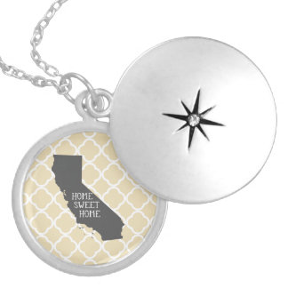 Home Sweet Home California Round Locket Necklace