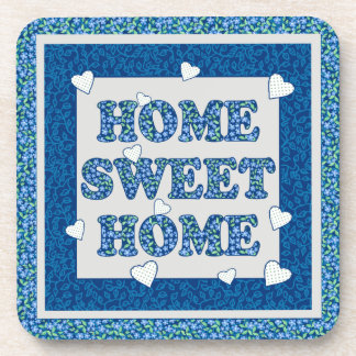 Home Sweet Home Coaster, Blue Mix'n'Match Patterns Beverage Coaster