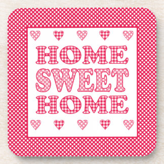 Home Sweet Home Coaster, Red and White Mix'n'Match Beverage Coaster