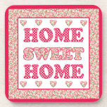 Home Sweet Home Coasters Red and White Mix'n'Match