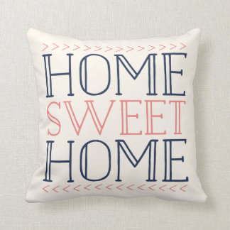 Home Sweet Home | Coral and Navy Modern Typography Throw Pillow