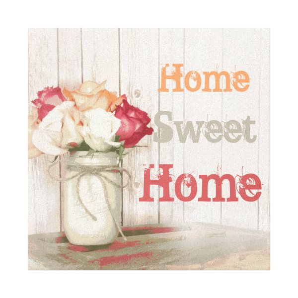 Home Sweet Home Country Mason Jar Wrapped Canvas Art
