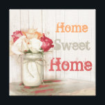 "Home Sweet Home Country Mason Jar Wrapped Canvas<br><div class=""desc"">Home Sweet Home Country Mason Jar with Twine Bow and Roses Wrapped Canvas. This is a perfect country decor wall art piece. It has a lot of vintage country charm with the canning jar, rose, and twine bow. The colors are peach coral, cream, and salmon pink. The background is a...</div>"