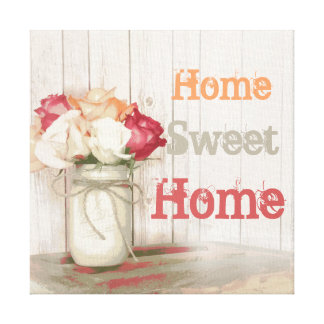 Home Sweet Home Country Mason Jar Wrapped Canvas