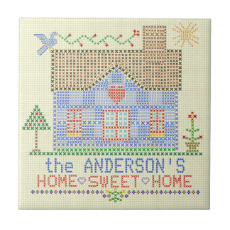Home Sweet Home Cross Stitch House Personalized Ceramic Tile