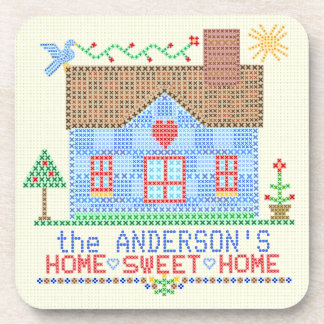 Home Sweet Home Cross Stitch House Personalized Drink Coaster