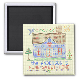 Home Sweet Home Cross Stitch House Personalized Magnet