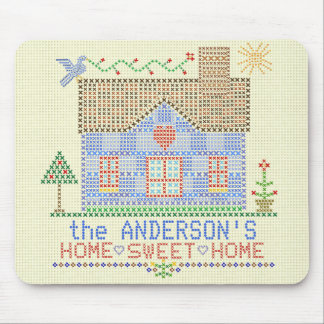 Home Sweet Home Cross Stitch House Personalized Mouse Pad