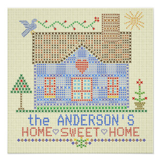 Home Sweet Home Cross Stitch House Personalized Poster