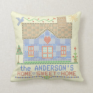 Home Sweet Home Cross Stitch House Personalized Throw Pillow
