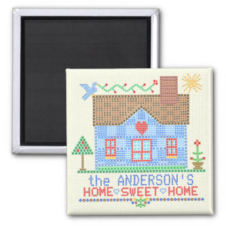 Home Sweet Home Cross Stitch House Personalized v2 Magnet
