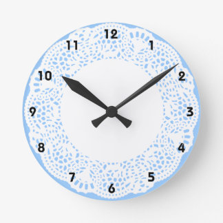 Home Sweet Home Doily Design (with numbers) Round Clock