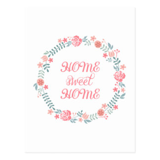 Home sweet home, floral laurel wreath postcard