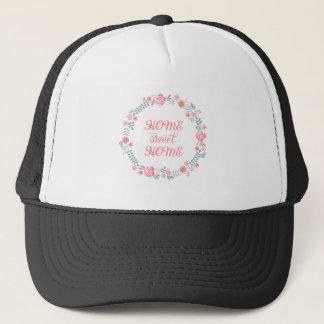 Home sweet home, floral laurel wreath trucker hat