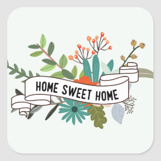 Home Sweet Home | floral Square Sticker