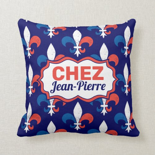 Home Sweet Home French Chez Vous Add Your Name Throw Pillow