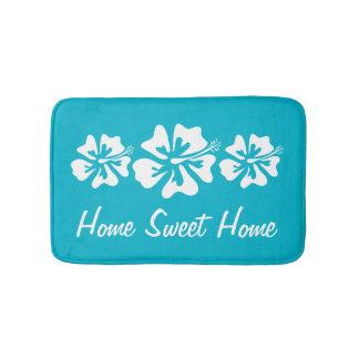 Home sweet home hibiscus flower non slip bath mat