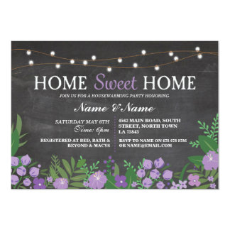 Home Sweet Home Housewarming Chalk Floral Invite