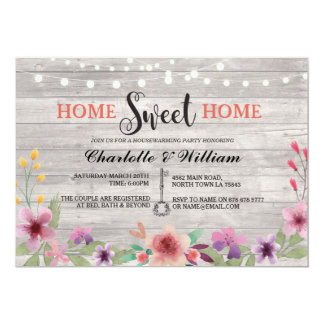 Home Sweet Home Housewarming Floral Rustic Invite
