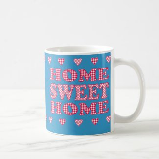 Home Sweet Home Mug: Red, White Polkas and Gingham