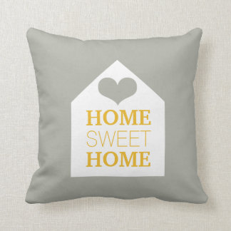 HOME SWEET HOME Mustard Grey & Yellow Pillow