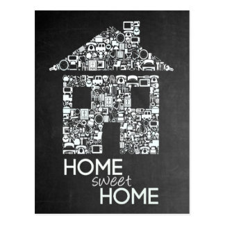 Home Sweet Home New Address Chalkboard Note Card Postcard