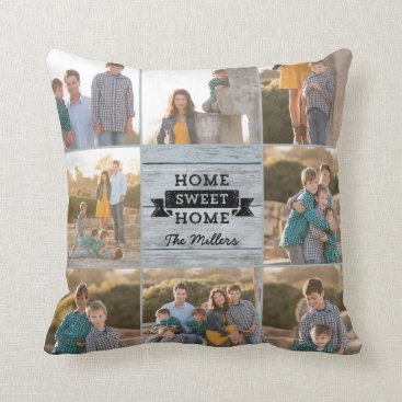 Beach Themed Home Sweet Home Pale Wood Rustic Custom Photo Throw Pillow