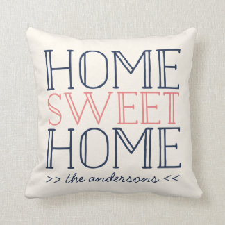 Home Sweet Home Personalized Modern Typography Throw Pillow