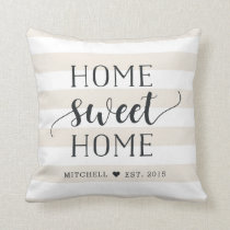 Home Sweet Home Personalized Striped Throw Pillow