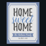 """Home Sweet Home Poster Decor Canvas Wall Art Print<br><div class=""""desc"""">This Home Sweet Home custom wall art print on stunning Canvas is perfect for every new home! Edit color,  family name and date established! Perfect for your new walls - or as a housewarming gift!</div>"""