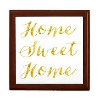 Home Sweet Home Quote Gold Faux Glitter Metallic Jewelry Box