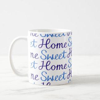 Home Sweet Home Repeat Script Pattern Blue & White Classic White Coffee Mug