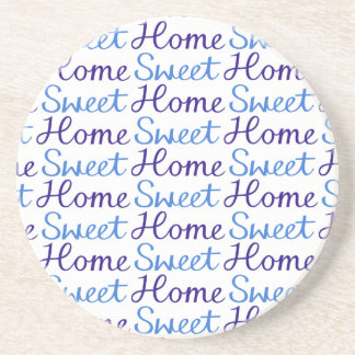 Home Sweet Home Repeat Script Pattern Blue & White Sandstone Coaster