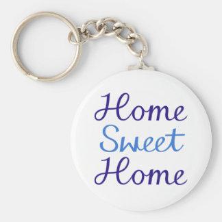 Home Sweet Home Script Design Blue & Cyan Basic Round Button Keychain