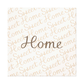 Home Sweet Home Script Design in Browns Canvas Print