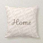 Home Sweet Home Script Design in Browns Throw Pillow