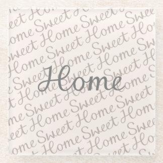 Home Sweet Home Script Design in Grey Cream Taupe Glass Coaster