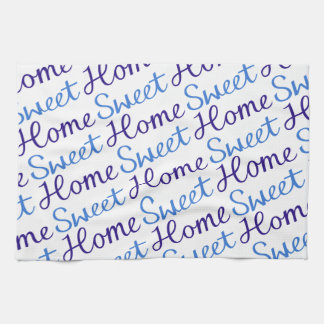 Home Sweet Home Script Diagonal Design Blue & Cyan Kitchen Towel