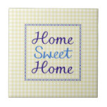 Home Sweet Home Script in Blues on Yellow Gingham Ceramic Tiles