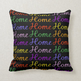 Home Sweet Home Script - Multicoloured Throw Pillow
