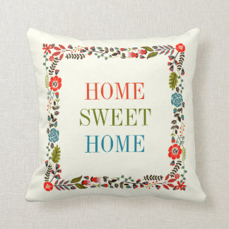 """HOME SWEET HOME"" spring floral border teal, red Throw Pillow"