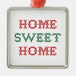 Home Sweet Home Square Metal Christmas Ornament
