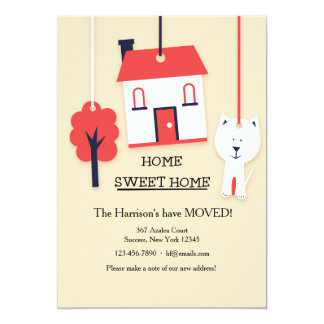 """Home Sweet Home (Tan) Moving Announcement 5"""" X 7"""" Invitation Card"""