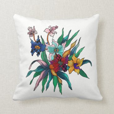 Beach Themed Home Sweet Home Tropical Flowers Watercolor Design Throw Pillow
