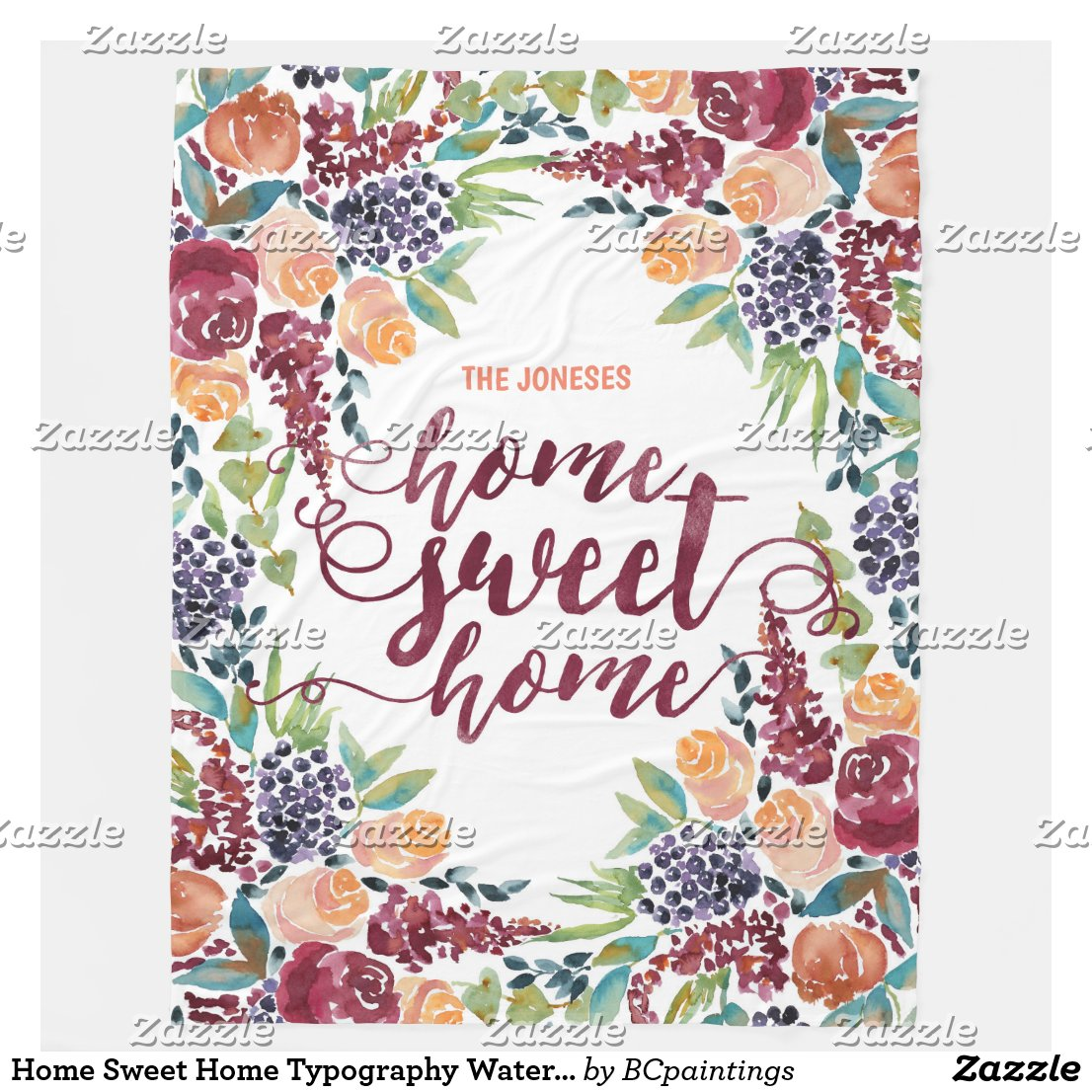 Home Sweet Home Typography Watercolor Fall Bouquet Fleece Blanket