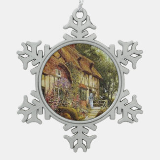Home Sweet Home Vintage County Cottage Snowflake Pewter Christmas Ornament