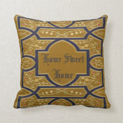 Home Sweet Home Vintage Gold Throw Pillow
