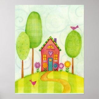 home sweet home watercolor print