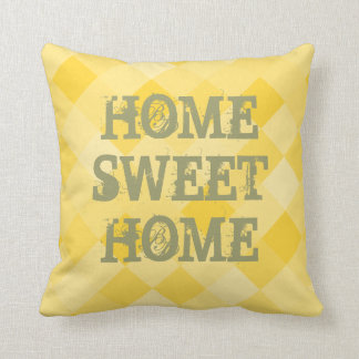Home sweet home yellow mosaic tile throw pillow